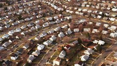 Levittown, looking northwest from Wolcott Road on the