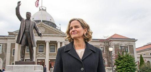 Nassau County Executive Elect Laura Curran speaks outside