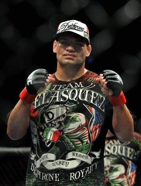 Heavyweight Cain Velasquez poses after his second-round TKO