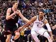Nets center Jahlil Okafor drives to the net
