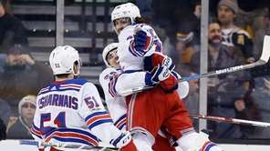 Rangers' Mats Zuccarello, right, celebrates his goal with