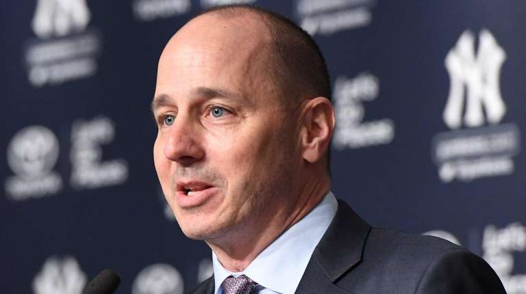 Yankees GM Brian Cashman speaks during a press