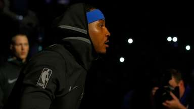 Thunder forward Carmelo Anthony is introduced before a