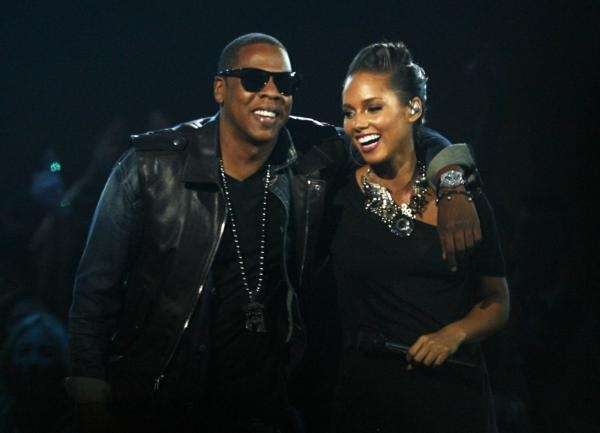 Jay Z performs with Alicia Keys during the