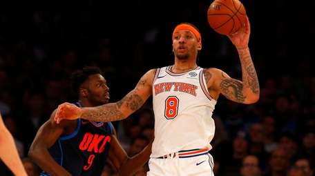 Michael Beasley of the New York Knicks controls