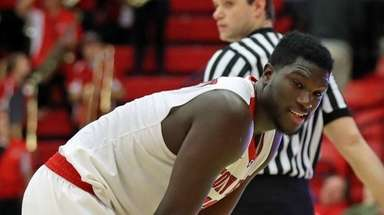 Stony Brook forward Tyrell Sturdivant reacts to missing