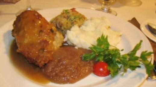 Pork chop (stuffed with sausage, served with sauteed
