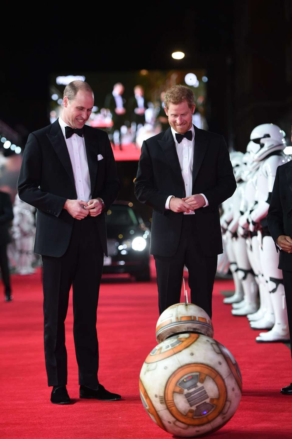Prince William, left, and Prince Harry are greeted