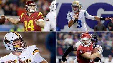 (Clockwise from top left) USC's Sam Darnold, UCLA's