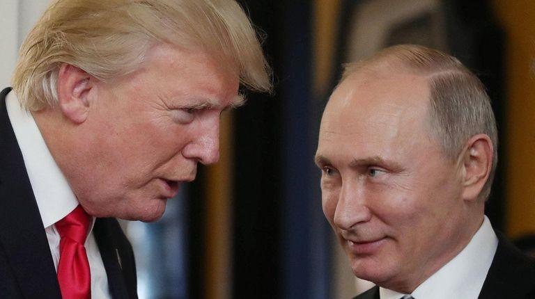 President Donald Trump speaks with Russian President Vladimir