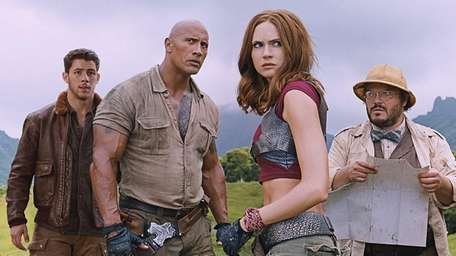 Nick Jonas, left, Dwayne Johnson, Karen Gillan, Jack