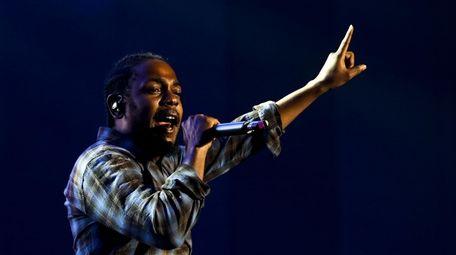 Rapper Kendrick Lamar performs during a concert at