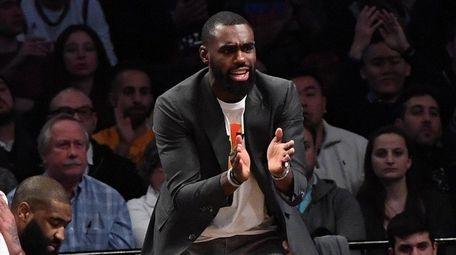 New York Knicks forward Tim Hardaway Jr. reacts
