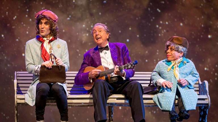 Noel Fielding, left, Eric Idle and Warwick Davis
