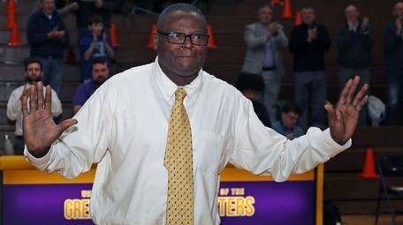Former Greenport basketball coach Al Edwards addresses the