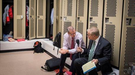 Stony Brook's head coach Jeff Boals is interviewed