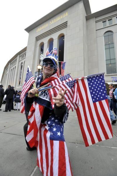 Yankees fan Lenny Lipton outside Yankee Stadium before