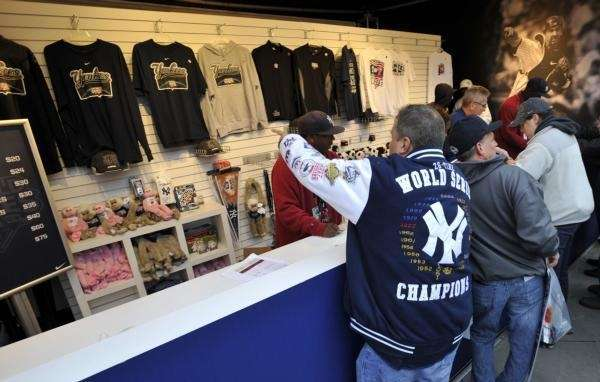 A Yankees fan picks out his World Series