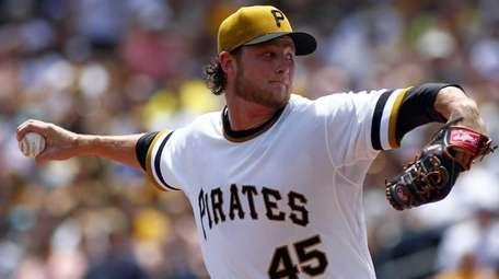 Gerrit Cole of the Pittsburgh Pirates pitches in