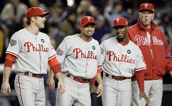 Philadelphia Phillies' Chase Utley, left to right, Shane