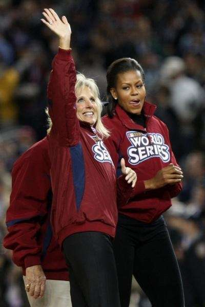 First lady Michelle Obama (R) and Dr. Jill