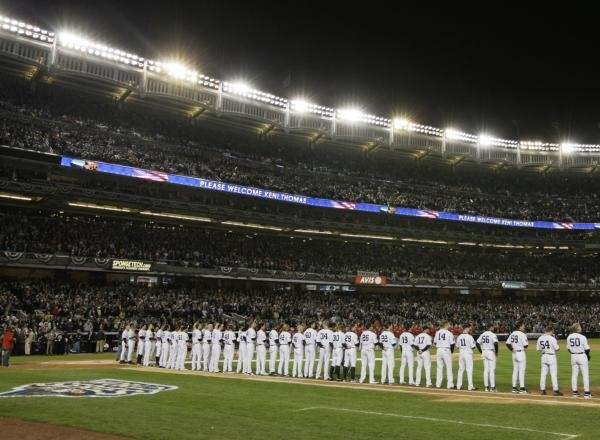 The New York Yankees and Philadelphia Phillies stand