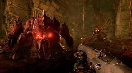 The iconic first-person shooter Doom plays well on