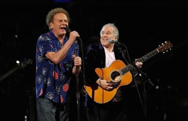 Art Garfunkel and Paul Simon perform at the