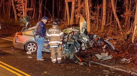 Firefighters respond to a crash at 2:30 a.m.