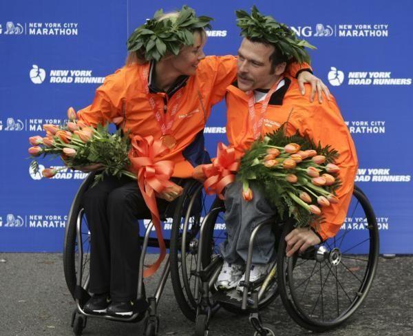 Australia's Kurt Fearnley and Edith Hunkeler of Switzerland