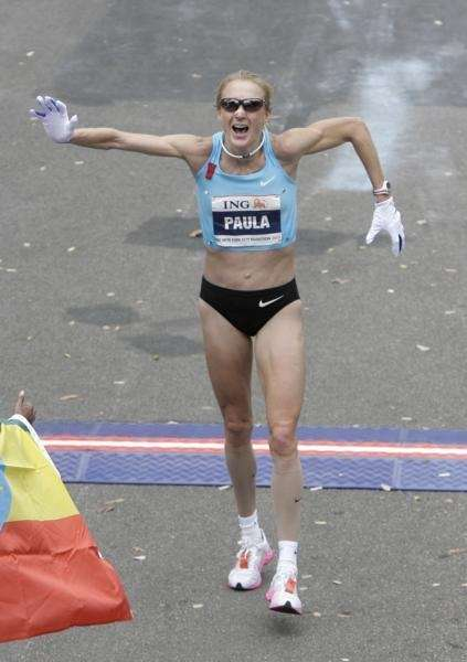 Paula Radcliffe of Great Britain at the finish