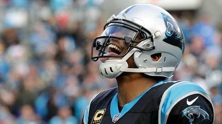 Cam Newton of the Panthers reacts after scoring