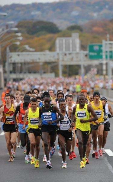 Leading runners compete in the New York City