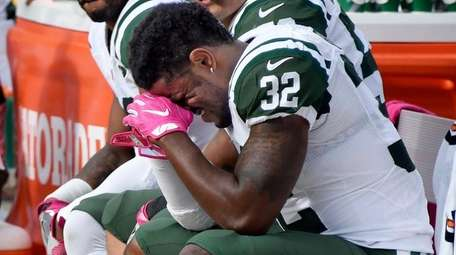 New York Jets cornerback Juston Burris (32) sits
