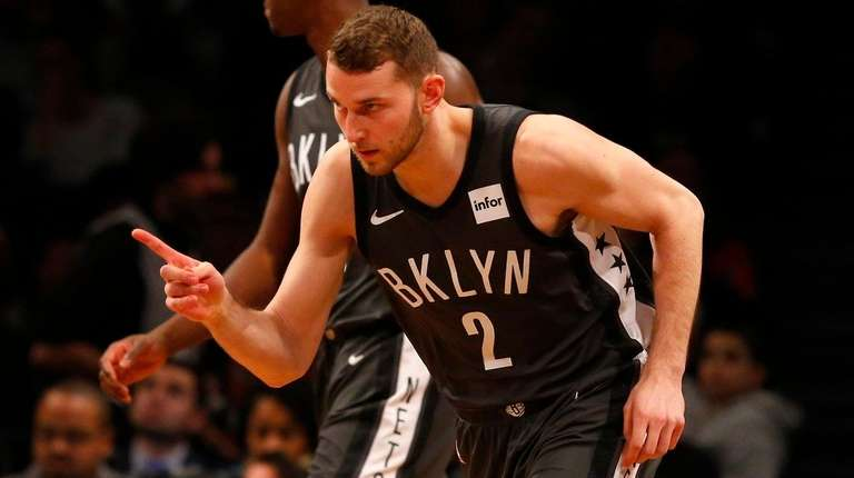 Nik Stauskas of the Nets reacts after a