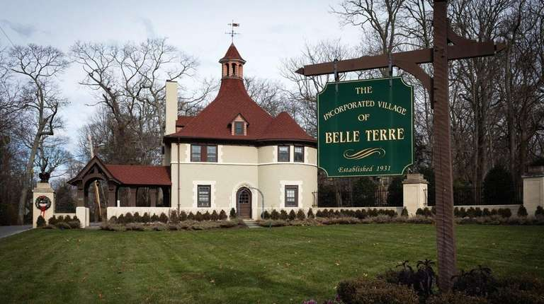 The Belle Terre Gatehouse marks the entrance to