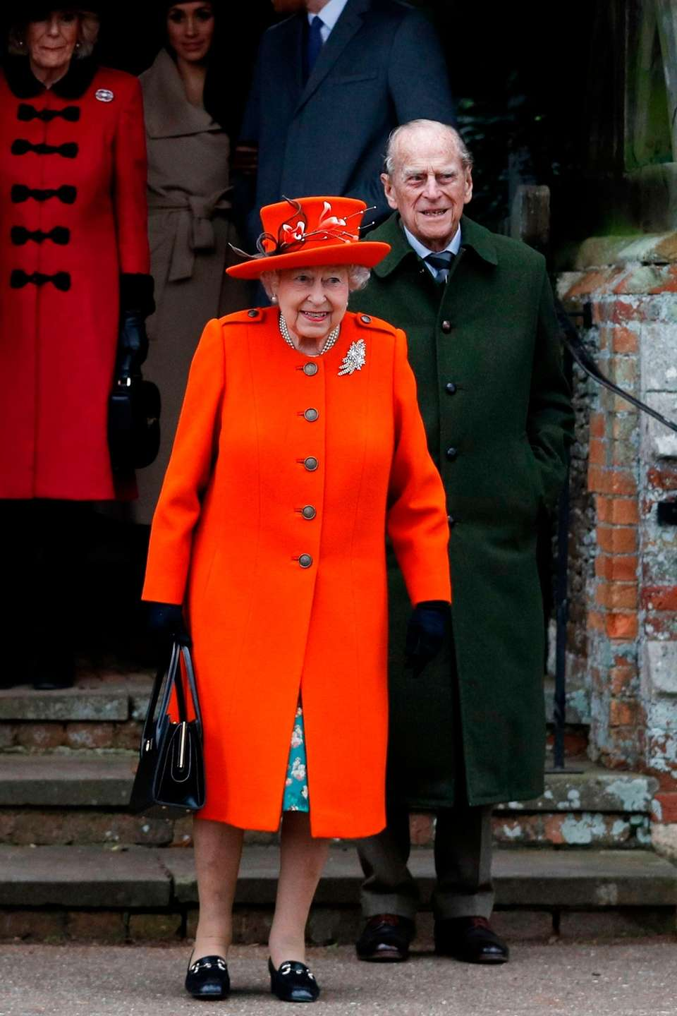 Queen Elizabeth II and Prince Philip leave Christmas