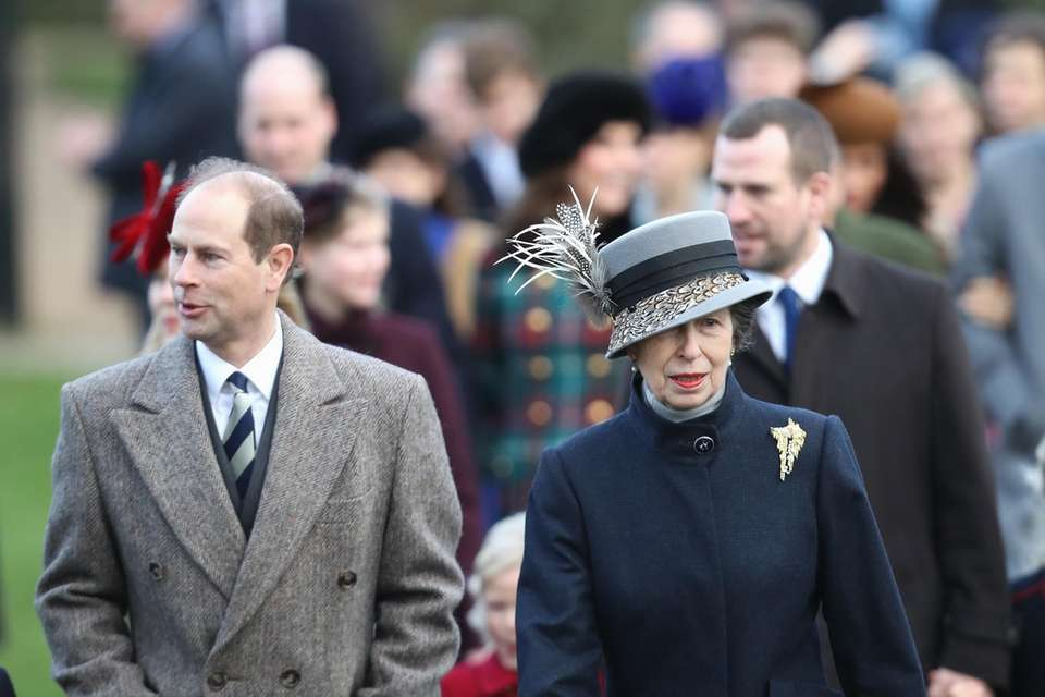 Prince Edward and Princess Anne attend Christmas Day