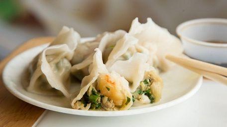 Delicate seafood dumplings are stuffed with shrimp, pork