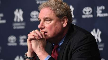 Yankees president Randy Levine looks on during a