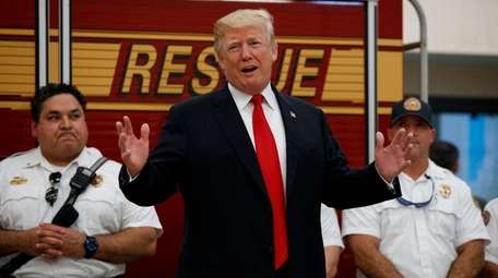 President Donald Trump speaks to first responders at
