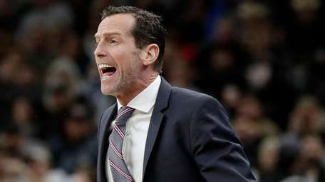 Nets head coach Kenny Atkinson reacts to a