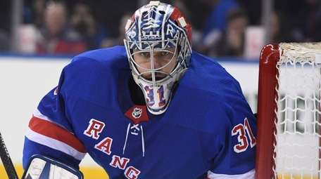 Rangers goalie Ondrej Pavelec keeps his eye on