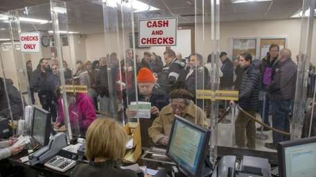 People line-up at the Town of Hempstead tax