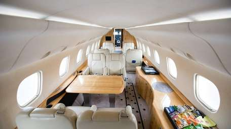 The interior of an Embraer Legacy, owned by