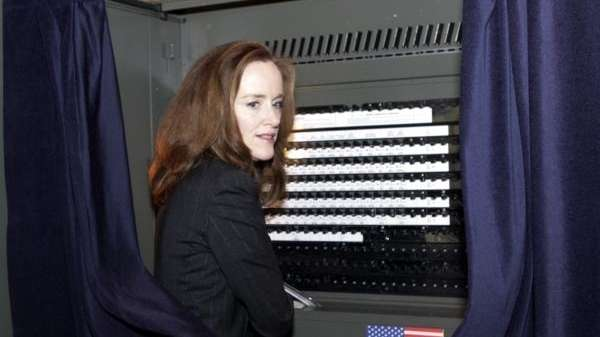 Nassau County District Attorney Kathleen Rice votes on