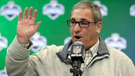 Then-Panthers GM Dave Gettleman speaks during a press