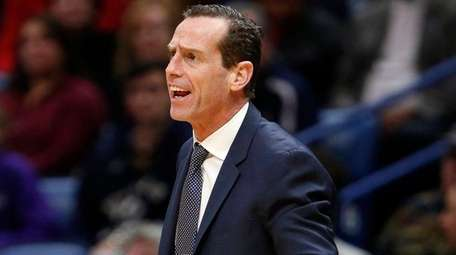 Nets head coach Kenny Atkinson reacts while his