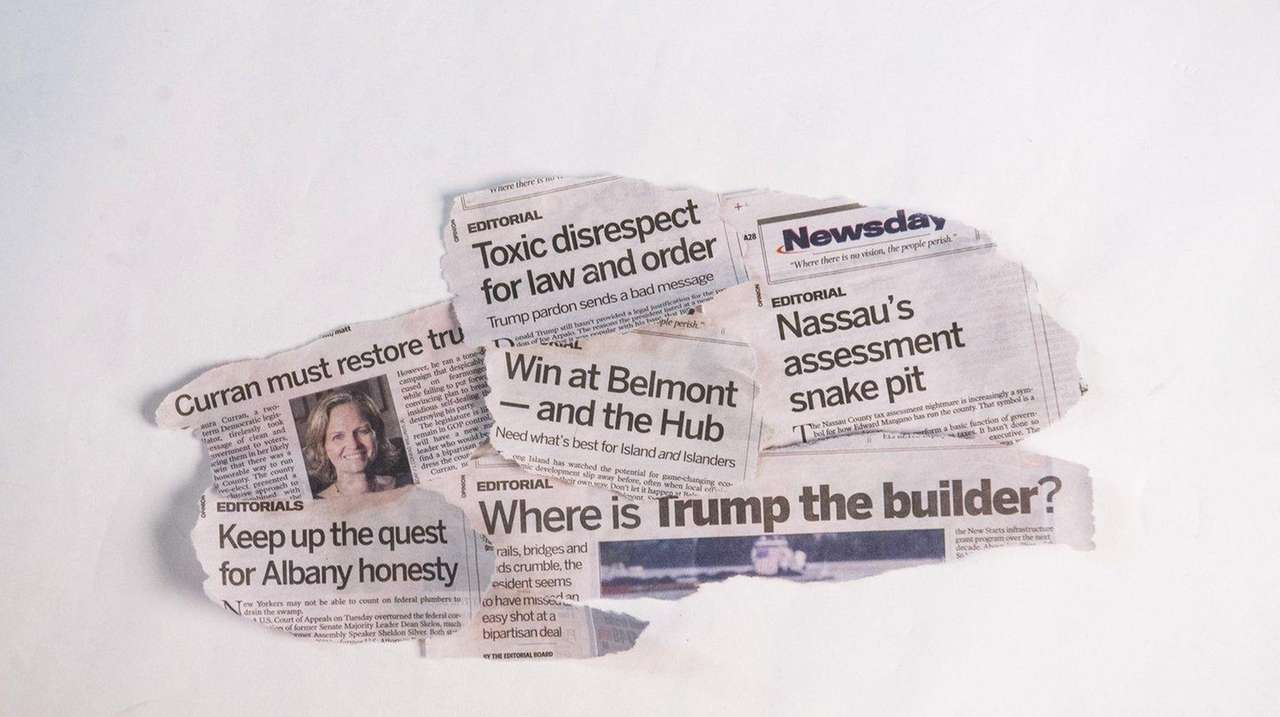 A collage of headlines from Newsday editorials in