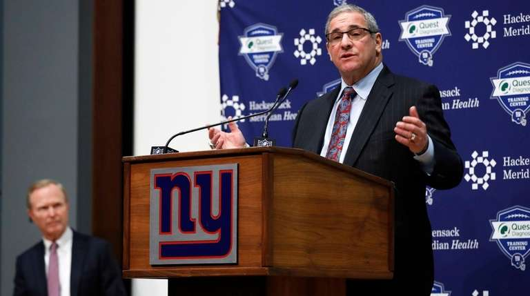 Giants general manager Dave Gettleman speaks after being